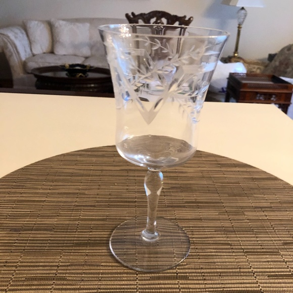 Unknown Other - Etched Crystal Wine Glass